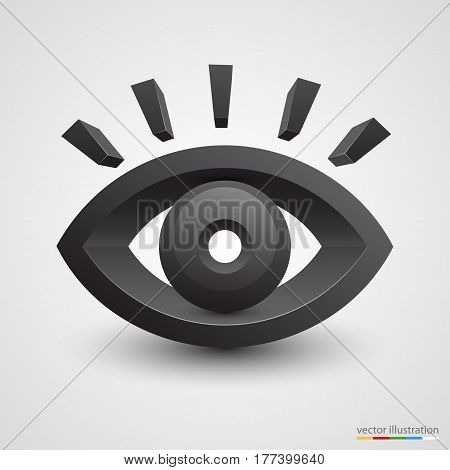 Three-dimensional black eye on white background. Vector illustration