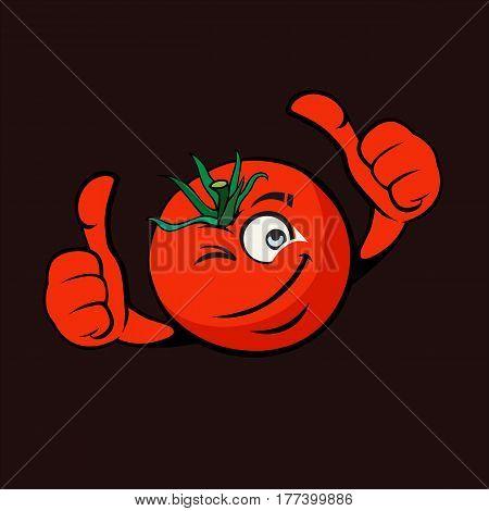 Cartoon Illustration Cheesy Tomato On Flat Design
