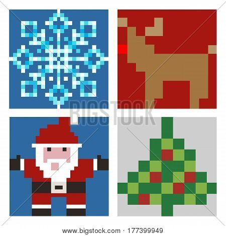 Christmas set of pixel elements Santa Claus Christmas tree elk snowflake on a white background in a flat design