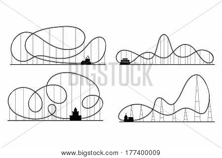 Amusement Park Roller Coaster Black Silhouettes Set Symbol Fun Leisure and Recreation. Vector illustration