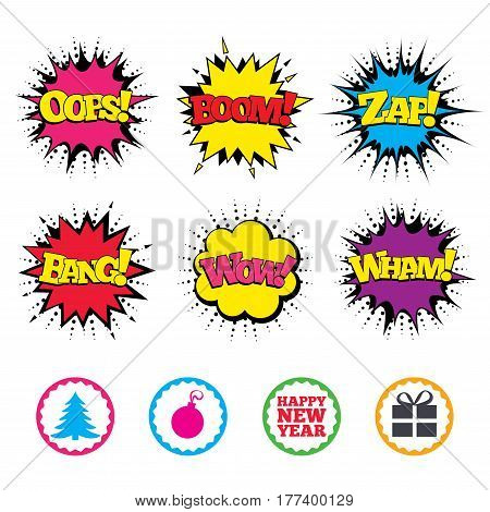 Comic Wow, Oops, Boom and Wham sound effects. Happy new year icon. Christmas tree and gift box sign symbols. Zap speech bubbles in pop art. Vector