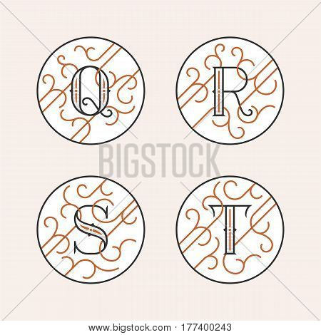 Decorative Initial Letters Q, R, S, T. Luxury ornate monogram emblems in outline style. Vector illustration.