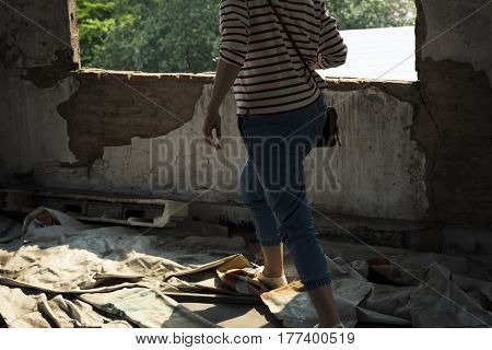 Adult Woman Walking in Vacant Construction
