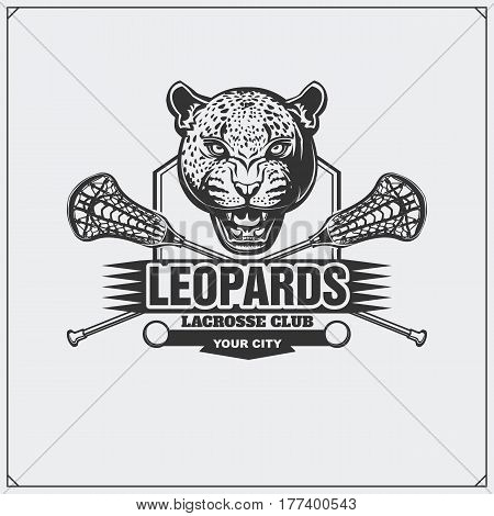 Lacrosse club emblem with leopard head. Vector illustration.