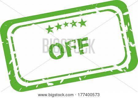 off green stamp isolated on white background
