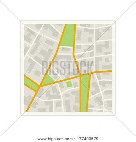 Map of the City with grunge texture. Simple illustration of city plan with streets.