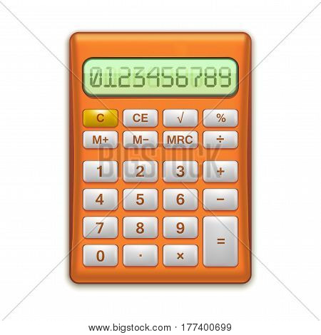 Realistic Electronic Red Calculator Mathematic Equipment for Education and Office. Finance Device Vector illustration