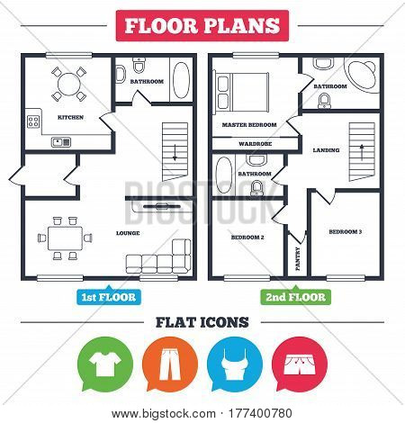 Architecture plan with furniture. House floor plan. Clothes icons. T-shirt and pants with shorts signs. Swimming trunks symbol. Kitchen, lounge and bathroom. Vector
