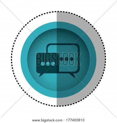 blue round symbol square chat bubbles icon, vector illustration design