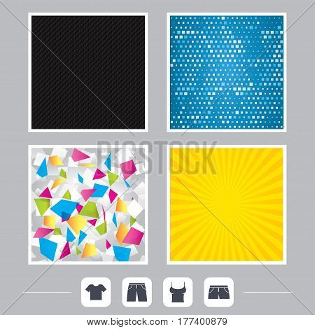 Carbon fiber texture. Yellow flare and abstract backgrounds. Clothes icons. T-shirt and pants with shorts signs. Swimming trunks symbol. Flat design web icons. Vector