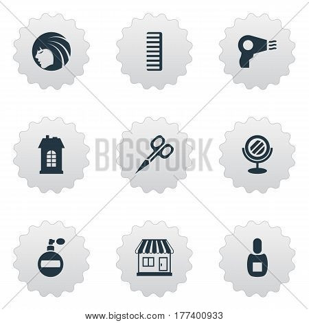 Vector Illustration Set Of Simple Barber Icons. Elements Blow Dryer, Cut Tool, Supermarket And Other Synonyms Comb, Bottle And Flask.