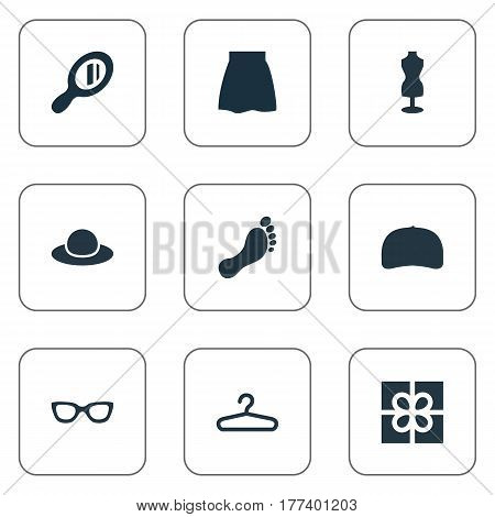 Vector Illustration Set Of Simple Clothes Icons. Elements Skirt, Mannequin, Glasses And Other Synonyms Present, Headwear And Hanger.