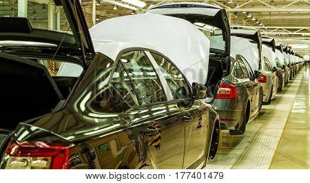Solomonovo Ukraine - March 9 2017. The body of Octavia cars on the assembly line of the Transcarpathian plant of the Czech automaker from Škoda.
