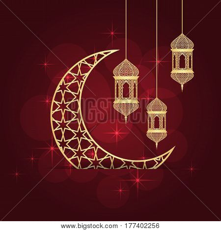 Ramadan greeting card on red background. Vector illustration.
