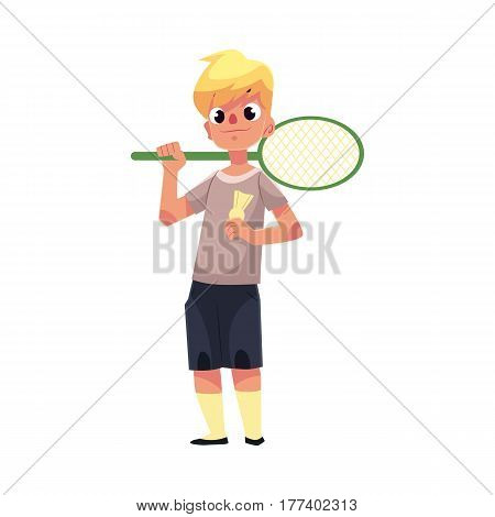Teenage Caucasian boy halding badminton racket and birdie, cartoon vector illustration isolated on white background. Boy with badminton racket, summer activity, having fun at the playground