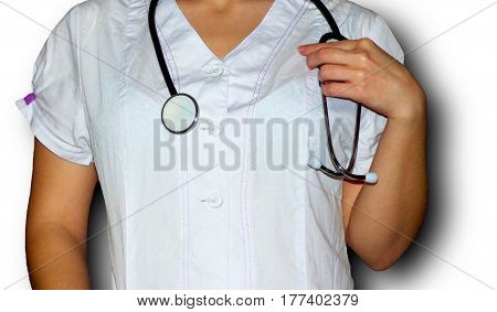 The young nurse on the white backround