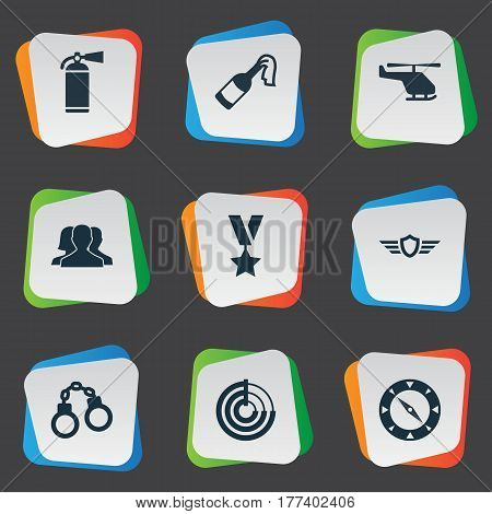 Vector Illustration Set Of Simple Battle Icons. Elements Magnet Navigator, Molotov, Military Order And Other Synonyms Order, Handcuffs And Shield.