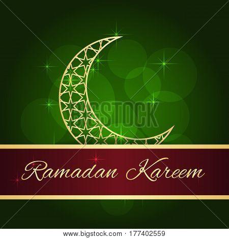 Ramadan greeting card on green background. Vector illustration. Ramadan Kareem means Ramadan is generous