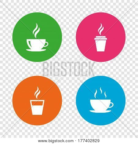 Coffee cup icon. Hot drinks glasses symbols. Take away or take-out tea beverage signs. Round buttons on transparent background. Vector