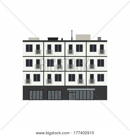 Condominium building in flat style. Vector illustration of Apartment house.