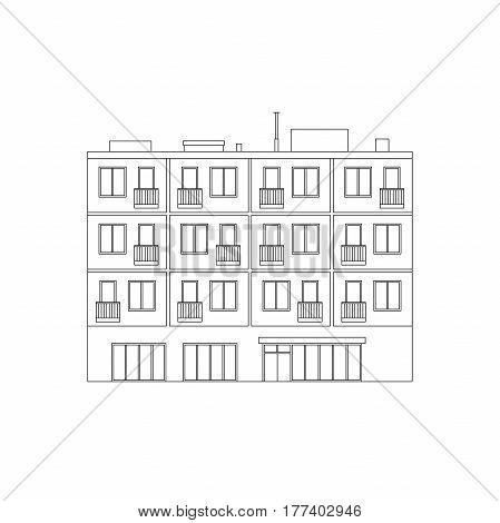 Apartment house line drawing. Vector thin illustration of condominium building.