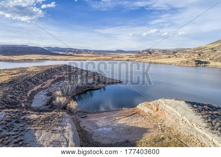 aerial landscape of northern Colorado foothills - Park Creek Reservoir and spillway