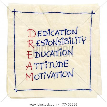 dedication, responsibility, education, attitude, motivation - DREAM acronym on isolated napkin