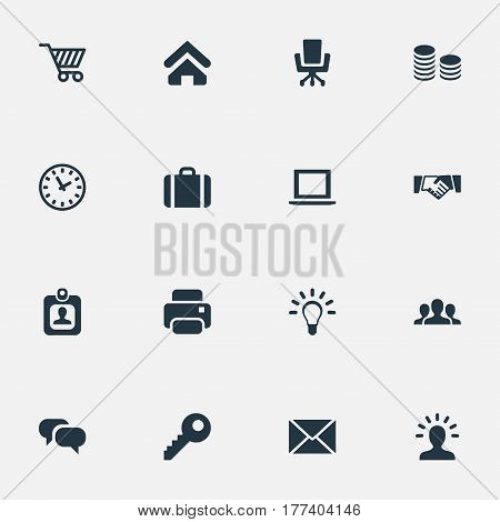 Vector Illustration Set Of Simple B2B Icons. Elements Password, House Location, Computer And Other Synonyms Laptop, Chatting And Trading.