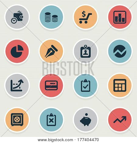 Vector Illustration Set Of Simple Banking Icons. Elements Calculator, Wallet, Cross On Clipboard And Other Synonyms Supervision, Consumption And Pig.