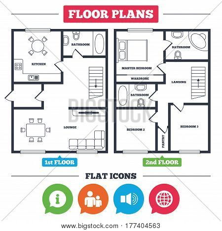 Architecture plan with furniture. House floor plan. Information sign. Group of people and speaker volume symbols. Internet globe sign. Communication icons. Kitchen, lounge and bathroom. Vector