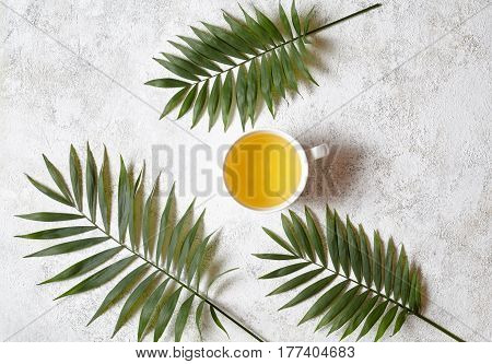 Cup of green natural antioxidant tea on a white concrete background with palm branches. Rest in warm tropical countries concept. Flat lay drink composition.