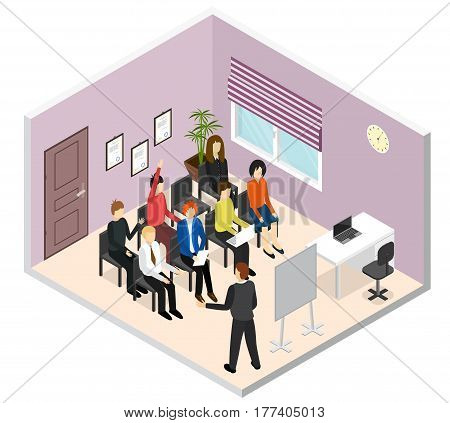 Business Training or Coaching Isometric View Corporate Professional Education Concept. Vector illustration