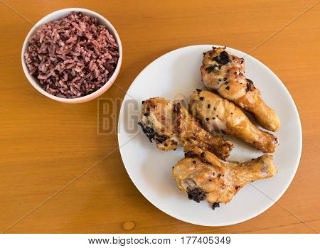 Top view of Thai berry rice on the table