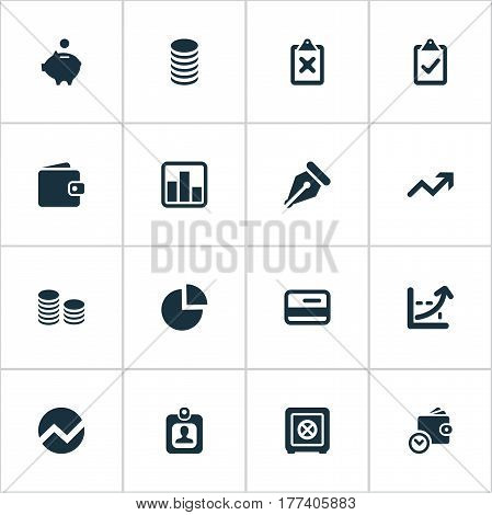Vector Illustration Set Of Simple Investment Icons. Elements Piggy Bank, Supervision List, Nib And Other Synonyms Nib, Separation And Interest.