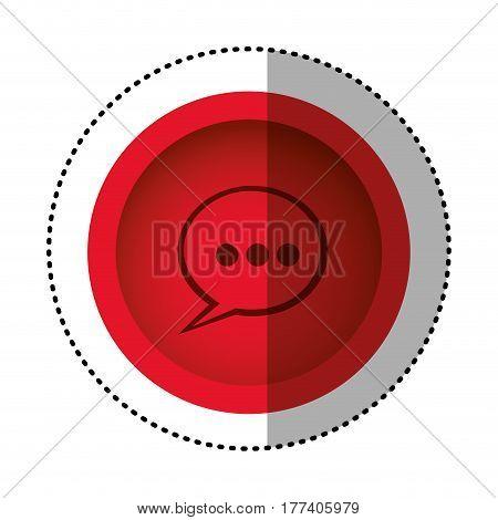 red round symbol chat bubble icon, vector illustration design