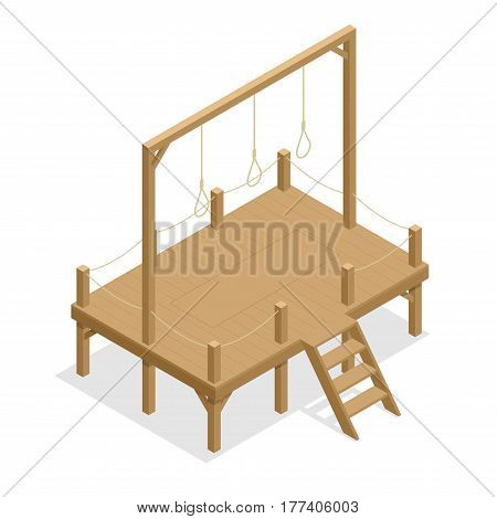 Hangman game vector drawing, suicide rope. Isometric gallows Flat 3d illustration. For infographics, game and design.