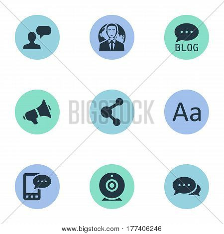 Vector Illustration Set Of Simple Newspaper Icons. Elements Loudspeaker, E-Letter, International Businessman And Other Synonyms Speaker, Globe And Typography.