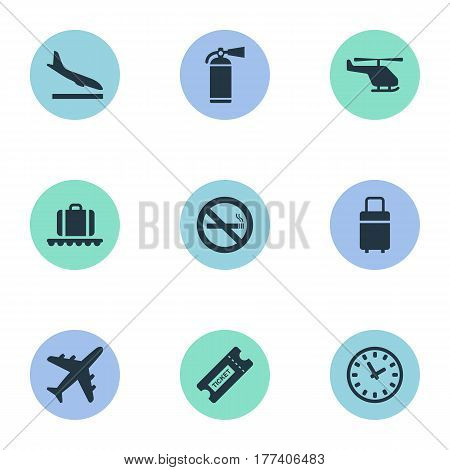 Vector Illustration Set Of Simple Airport Icons. Elements Cigarette Forbidden, Coupon, Protection Tool And Other Synonyms Extinguisher, Ticket And Helicopter.