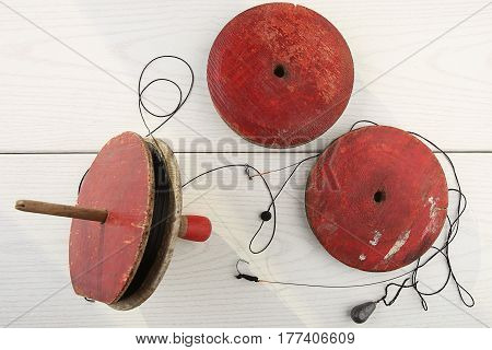 Fishing supplies handmade. Round Wooden Spools Reels  for Fishing.