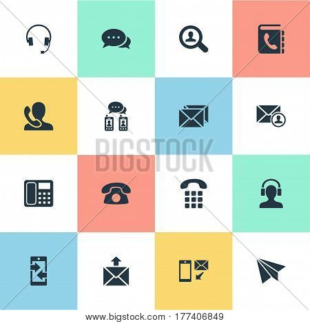 Vector Illustration Set Of Simple Connect Icons. Elements Aircraft, House Phone, New-Come Letter And Other Synonyms Talk, Arrows And Outgoing.