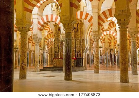 Interior Of Cathedral-mosque Of Cordoba, Andalusia, Spain.