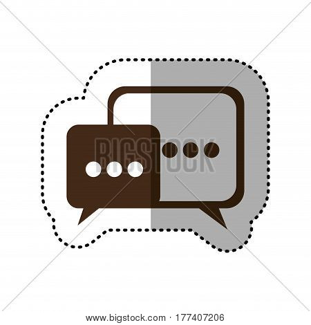 brown square chat bubbles icon, vector illustration design