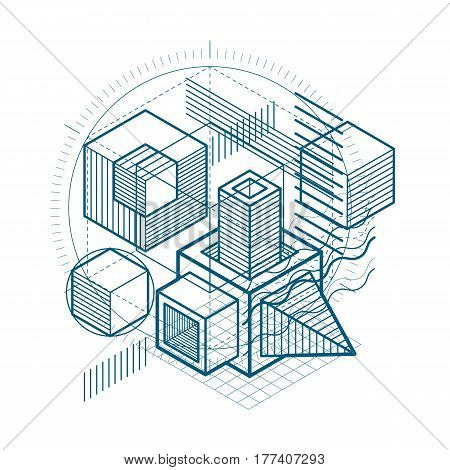 3D Abstract Vector Isometric Background. Layout Of Cubes, Hexagons, Squares, Rectangles And Differen