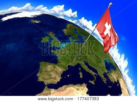 Switzerland national flag marking the country location on world map. 3D rendering, parts of this image furnished by NASA