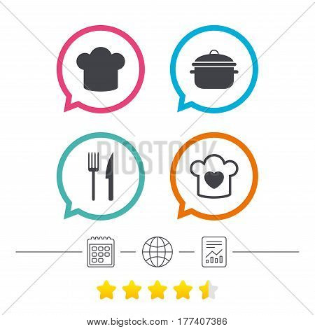 Chief hat and cooking pan icons. Fork and knife signs. Boil or stew food symbols. Calendar, internet globe and report linear icons. Star vote ranking. Vector