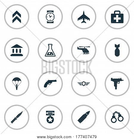 Vector Illustration Set Of Simple Army Icons. Elements Watch, Pursuit Plane, Firearm And Other Synonyms Medical, Reward And Knife.