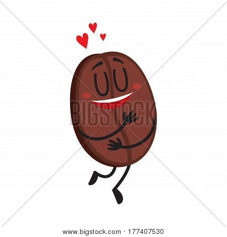 Cute, funny coffee bean character with human face showing love, heart symbols, cartoon vector illustration isolated on white background. Coffee bean character, mascot, design element, symbol of love