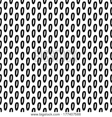 Abstract doodle pattern with hand drawn ink spots. Cute vector black and white doodle pattern. Seamless monochrome doodle pattern for fabric, wallpapers, wrapping paper, cards and web backgrounds.