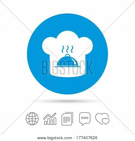 Chef hat sign icon. Cooking symbol. Cooks hat with hot dish. Copy files, chat speech bubble and chart web icons. Vector