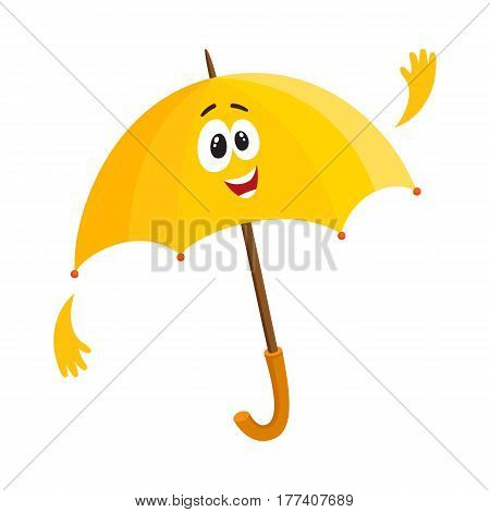 Cute and funny yellow umbrella character with smiling human face waving hello, cartoon vector illustration isolated on white background. Greeting umbrella, parasol character, mascot, design element